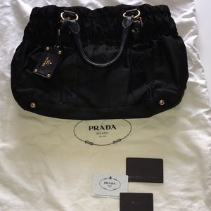 Prada Black Nylon Tessuto Gaufre Tote Bag Purse